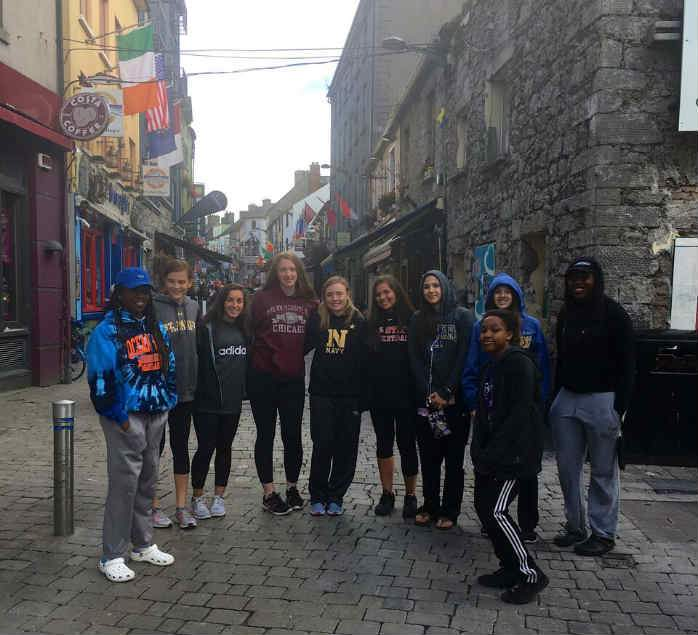 The girls exploring the Latin Quarters in Galway