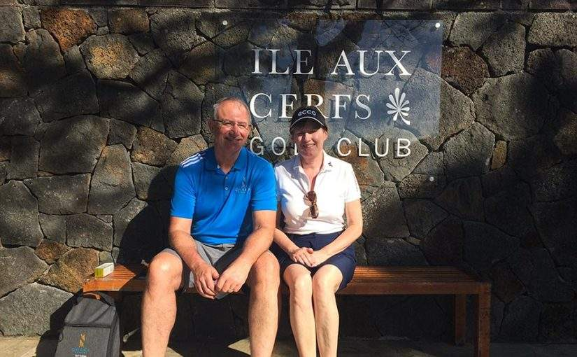 Mark & Marcella at Ile Aux Cerfs Golf Course Mauritius Golf Holiday