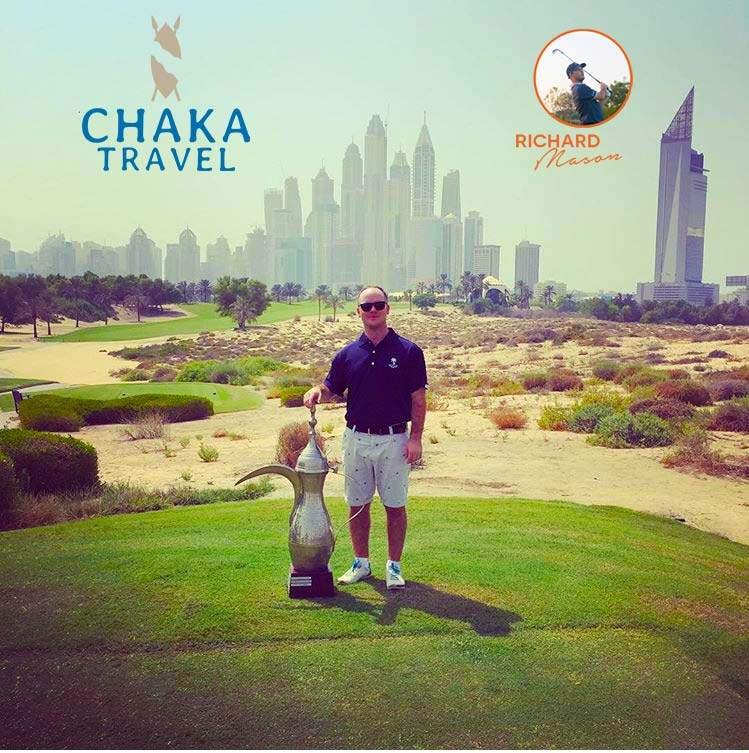 Richard with the Dubai Desert Classic Trophy at Emirates Golf Club in Dubai Middle East United Arab Emirates Oman Dubai Abu Dhabi