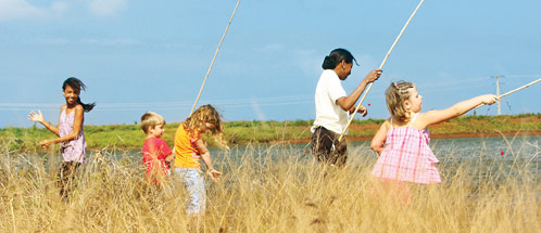 Kids fishing at the Frederica Nature Park