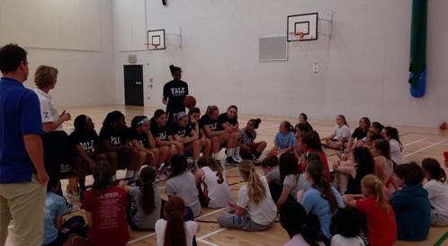Yale women's basketball team coaching the kids