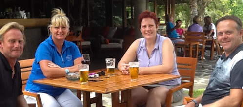 Mauritius Mixed Pairs group stopping for drinks