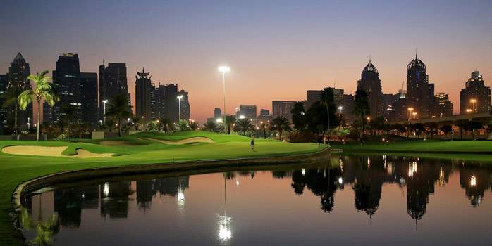Emirates Golf Club Faldo Course Skyline Floodlit Night Golf Luxury Travel Special Chaka Travel