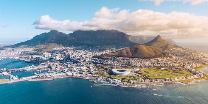 Cape Town Aerial View with Table Mountain