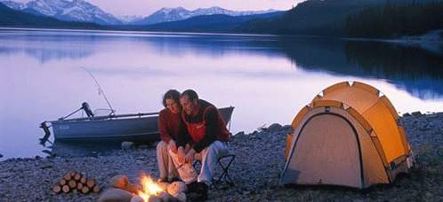 Alberta Couple Camping by Lake