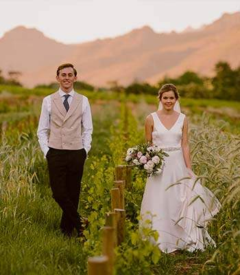 Wedding at the Gondwana Safari Lodge among the fields, South Africa