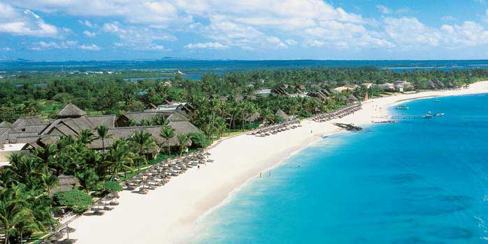 Aerial View of Beach at Constance Belle Mare Plage Mauritius