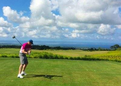 Mark teeing off on the Avalon Golf Course, Mauritius
