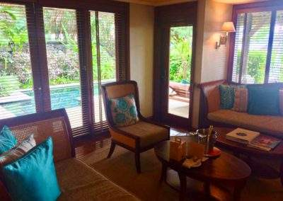The suite lounge at Constance Prince Maurice, Mauritius