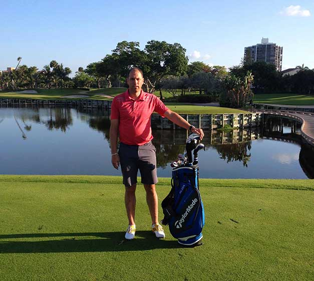 Stuart with his TaylorMade Clubs at Turnberry Isle Miami.