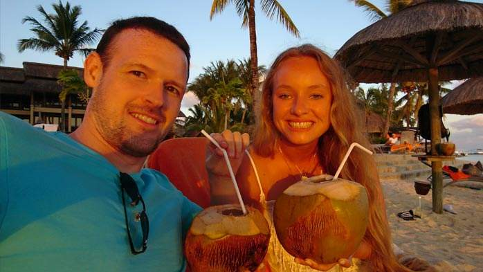Coconut drinks at the Coco Shack, Heritage Awali, Mauritius