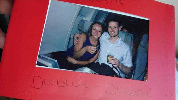 Signed photo from the crew on our Emirates honeymoon flight