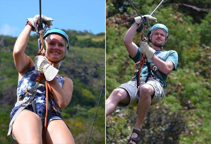 Tim & Nicki on the zipline at Casela, Mauritius