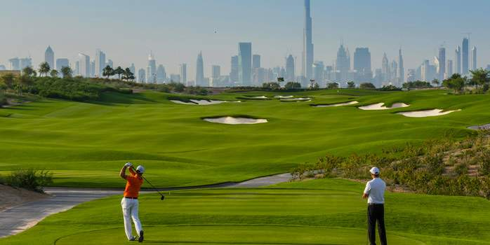 Dubai Hills Golf Club 9th Hole Middle East United Arab Emirates UAE